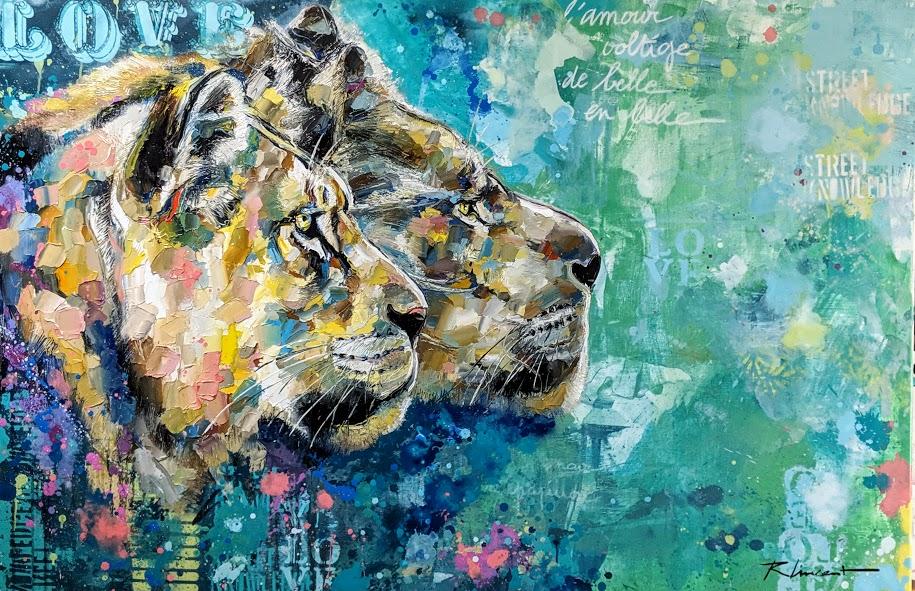 Tableau tête de lion Vincent Richeux