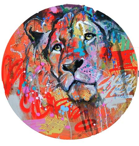 tableau rond lion