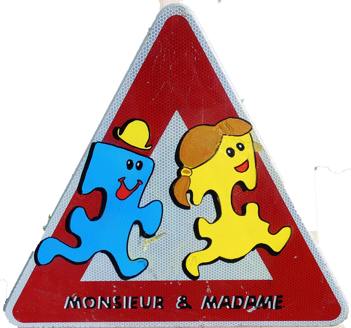Panneau routier triangle Mr et Mme